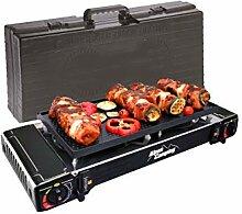 Plancha grill Gaz/réchaud 2 feux Piezo 5000W