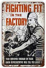 Plaque en métal avec inscription « Fighting Fit