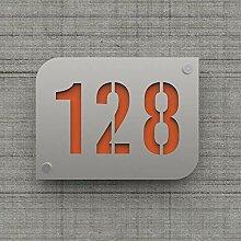 Plaque numéro de rue/maison argent brillant