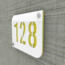 Plaque numéro de rue / maison blanc design avec