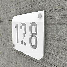 Plaque numéro de rue/maison blanc design avec