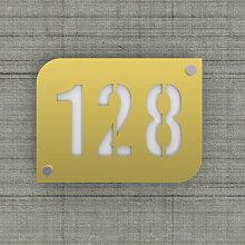 Plaque numéro de rue / maison couleur or design