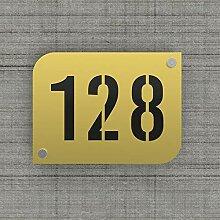 Plaque numéro de rue/maison couleur or design