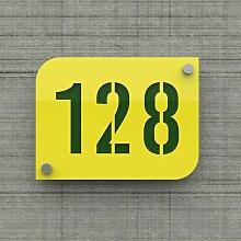 Plaque numéro de rue / maison jaune design avec
