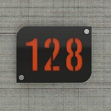 Plaque numéro de rue / maison noire design avec