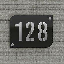 Plaque numéro de rue/maison noire design avec