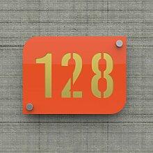 Plaque numéro de rue / maison orange design avec