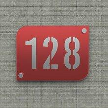 Plaque numéro de rue / maison rouge design avec