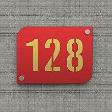 Plaque numéro de rue/maison rouge design avec