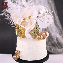 Plaqué or Flamingo Figurine Pour Gâteau De Fête