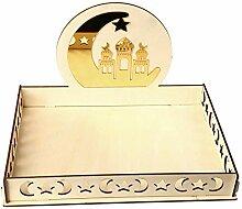 Plateau artistique en bois Eid Mubarak Party