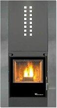 poêle à bois habillage acier décor inox - 20633