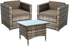 Polyrattan ensemble de sièges, fauteuil de jardin