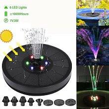 Pompe de fontaine à eau solaire 7V/3W, lumières