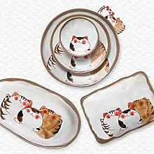 PORCN Ensemble de vaisselle de chat de dessin