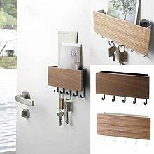 Porte-clés mural en bois, à suspendre, étagère