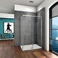 Porte de douche coulissante 120x70x195cm verre