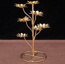 Porte-lampe à huile en forme de Lotus bouddhiste,