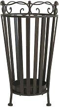 Porte parapluie rond fer métal patiné marron