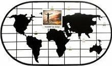 Porte-photo carte du monde en métal - 60 x 35 cm