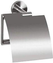 Porte-rouleaux de papier WC Inox brossé à capot