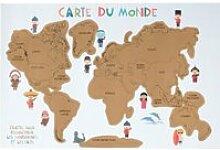 Poster à gratter - planisphère carte du monde -