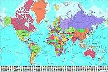 Poster Carte du Monde avec Drapeaux en Français