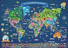 Poster Carte du Monde pour Enfant en Français |