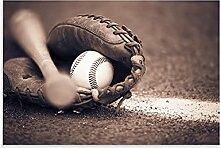 Poster de baseball batte et gant sur toile Art