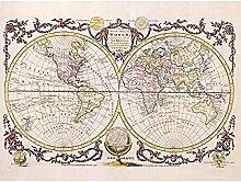 Poster vintage carte du monde sans cadre 30,5 x
