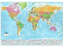 Poster XXL Carte du monde avec drapeaux - 100 x