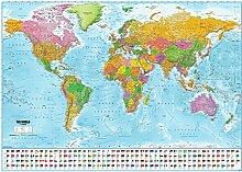 Poster XXL Carte du monde avec drapeaux - 2019 -