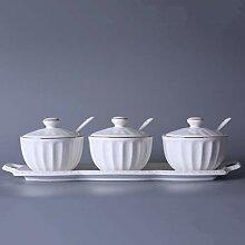 Pot à condiments en porcelaine blanche avec