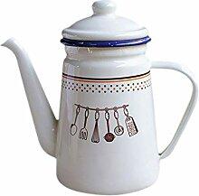 Pot à thé en émail 1100 ml pour le camping, le