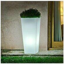 Pot de fleur lumineux en polyéthylène blanc