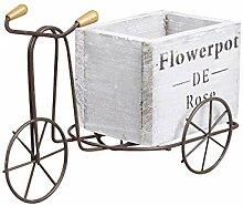 Pot de fleurs en bois rétro en fer - Tricycle -