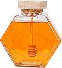 Pot de Miel en Verre - Forme Hexagonale Pot de