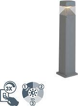 Poteau extérieur moderne gris 80 cm avec LED IP55