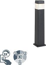 Poteau extérieur moderne noir 80 cm avec LED IP55