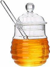 Pots de miel, pot de confiture clair en pot de