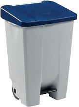 poubelle 80 l mobile mobily blanc / bleu