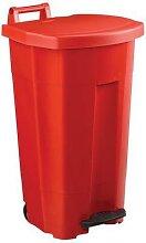 poubelle 90 l boogy mobile à pedale rouge rouge