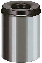 poubelle à papier anti-feu inox/noir 15l