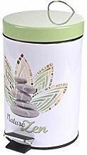 poubelle à pedale 3 l metal imprime zen fores