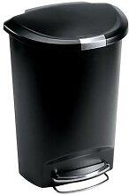 poubelle à pédale en plastique demi-lune 50l noir