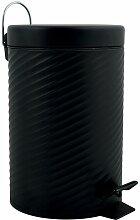 Poubelle à pédale Inox AJAN 3L Noir Mat - Noir -
