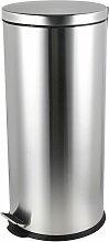 Poubelle cylindrique en acier inoxydable 30L