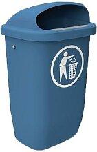 poubelle d'extérieur de rue 50l bleu