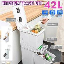 Poubelle de cuisine à 2 couches 42L, corbeille