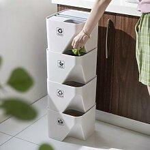 Poubelle de cuisine empilée tri poubelle
